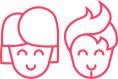 2 gezeichnete Köpfe in roter Farbe