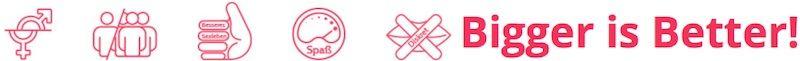 Symbole in rosa auf weißem Grund
