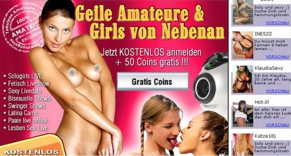 Angebot des Cam Anbieters mit Webcam Girls